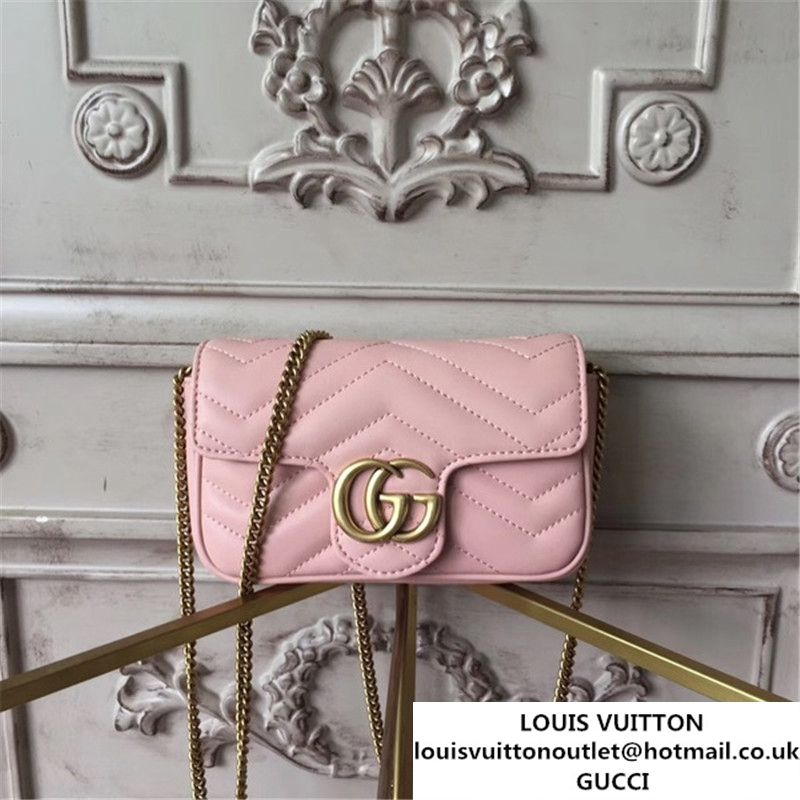 318de6130 Gucci GG Marmont Matelass 2.0 Mini Chain Shoulder Bag 17cm Calfskin Leather  Fall Winter 2017 Collection Light Pink