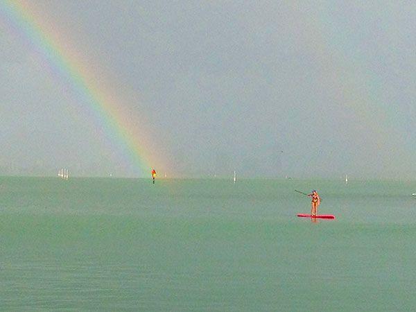 SUP Rainbow, Paddling under the rainbow. Stand Up Paddle Boarding in San Diego, Rainbow stand up paddle boarding. 2 Stand Up Guys Paddle Board Lessons & Sales 1701 Tamarack Ave Carlsbad, Ca 92008 (347)489-3926