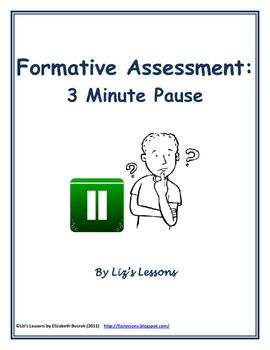 Minute Pause Formative Assessment Template  Formative