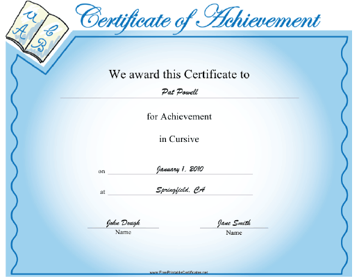 This Cursive Achievement Certificate Features Examples Of Cursive