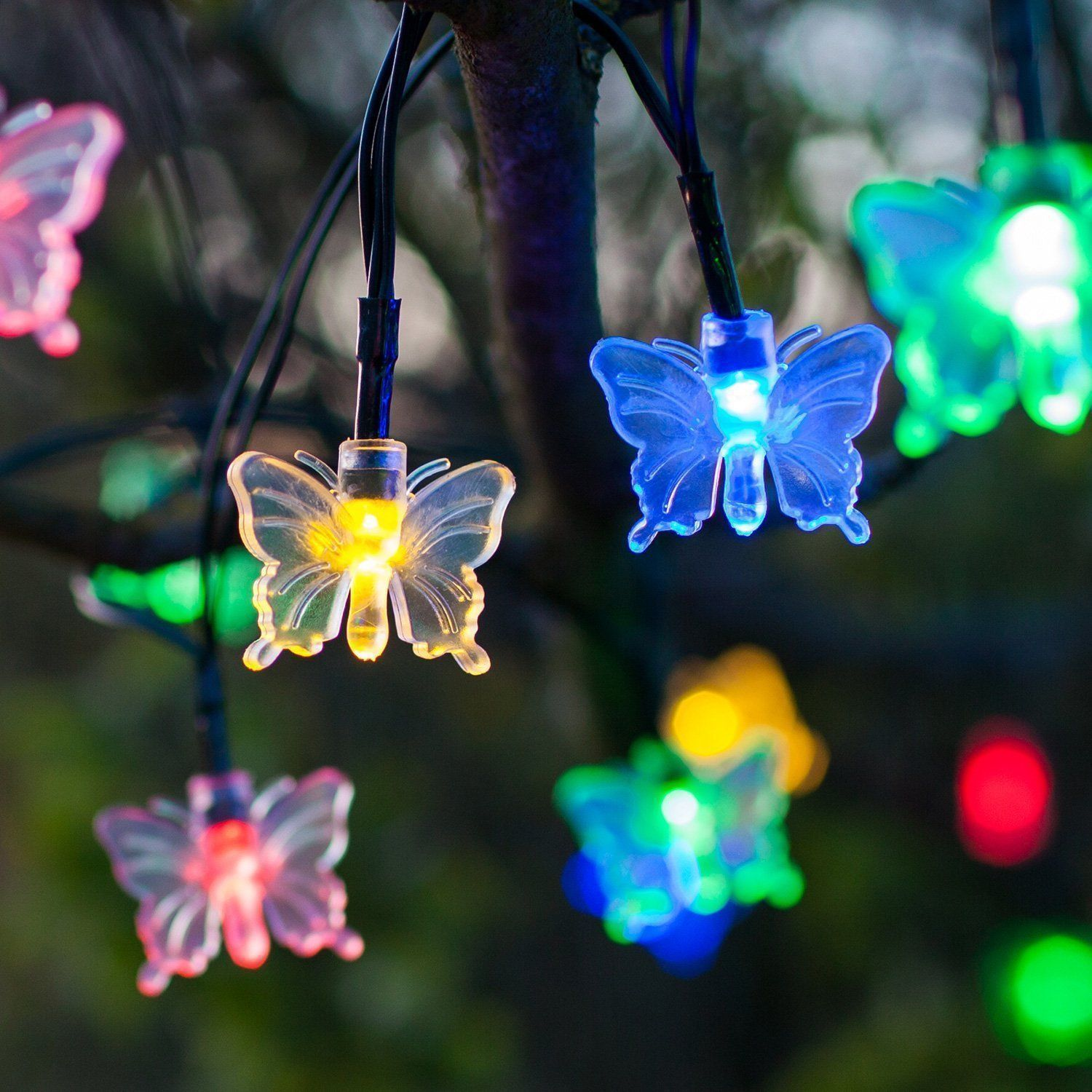 599 gbp 35 led solar string lights butterflies multi coloured 599 gbp 35 led solar string lights butterflies multi coloured white garden lights ebay home garden aloadofball Image collections