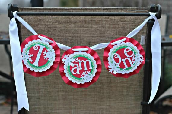 CHRISTMAS 1st BIRTHDAY PARTY Decorations, High Chair Banner, Winter ONEderland, I Am One, Boy…