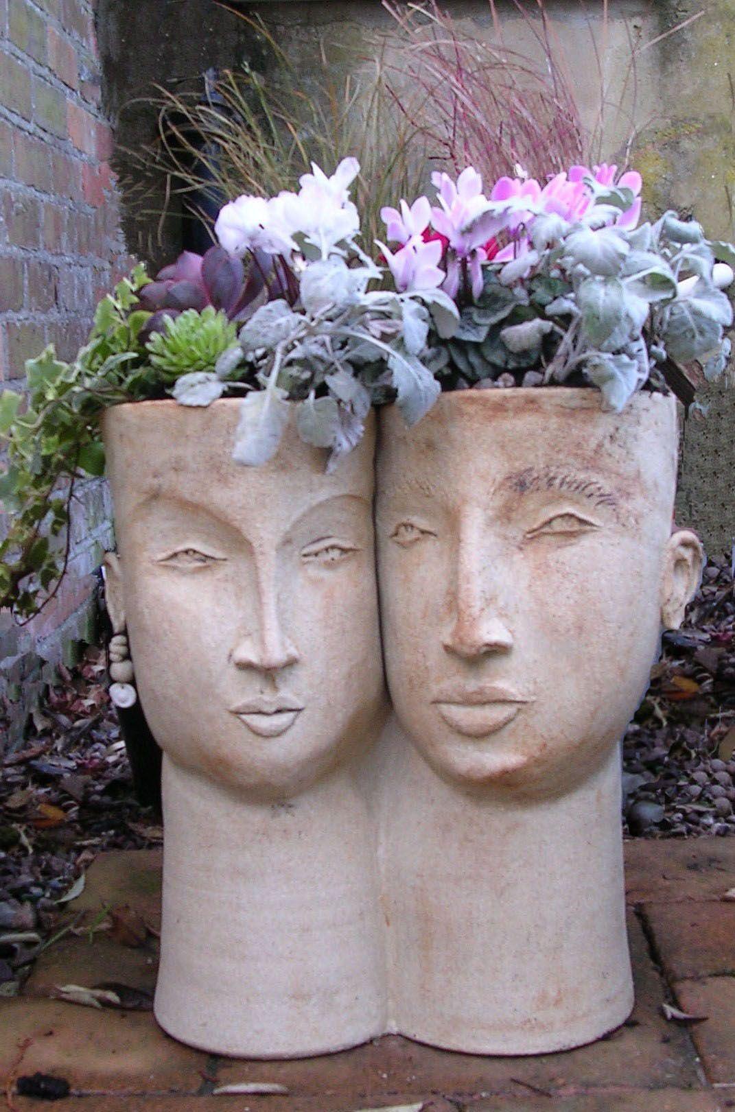 Double Head Planter Medium Stoneware Head Planters 400 x 300