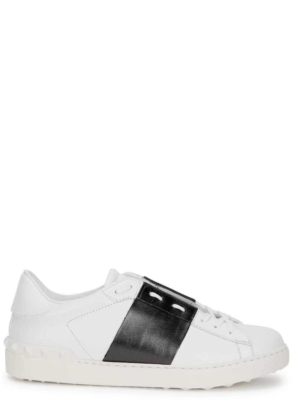 855ebb63f69891 Valentino white leather trainers Dark brown metallic stripe appliqué ...