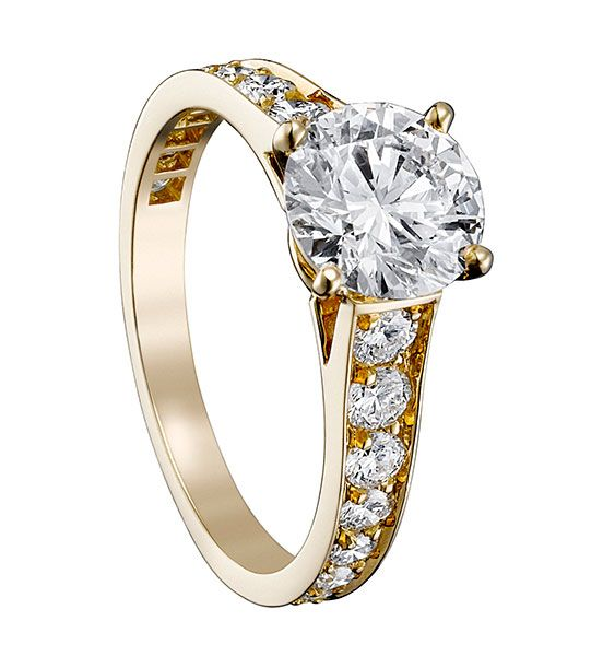 cartier engagement ring Solitaire 1895 Yellow Gold Diamond Paved CARTIER