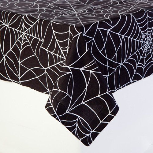 Spider Web Print Table Cloth, Halloween Party Linens 60 I... Https: