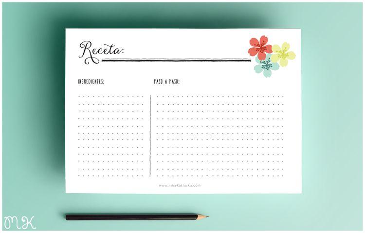 Recetario imprimible gartuito miss katiuska tarjetas for Plantillas de cocina