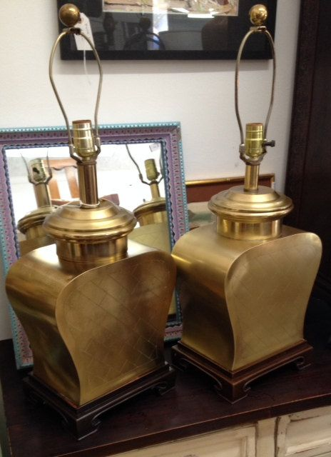 Pair of Asian Inspired Brass Lamps