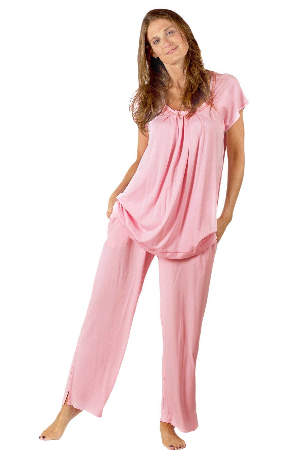 in sets shirt drop sleeves casual three shipping set sweetpine pajamas women comforter item s from two warm quarter piece pants neck v comfortable pajama