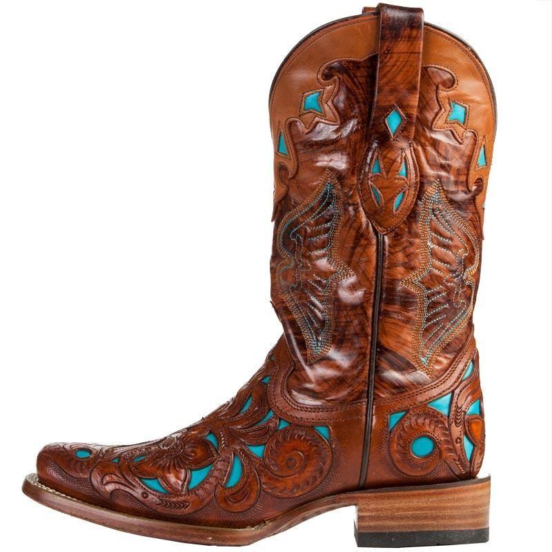 ea5baf1aabf Shop Women's Corral Dark Chedron Teal Handtooled Cowgirl Boots ...