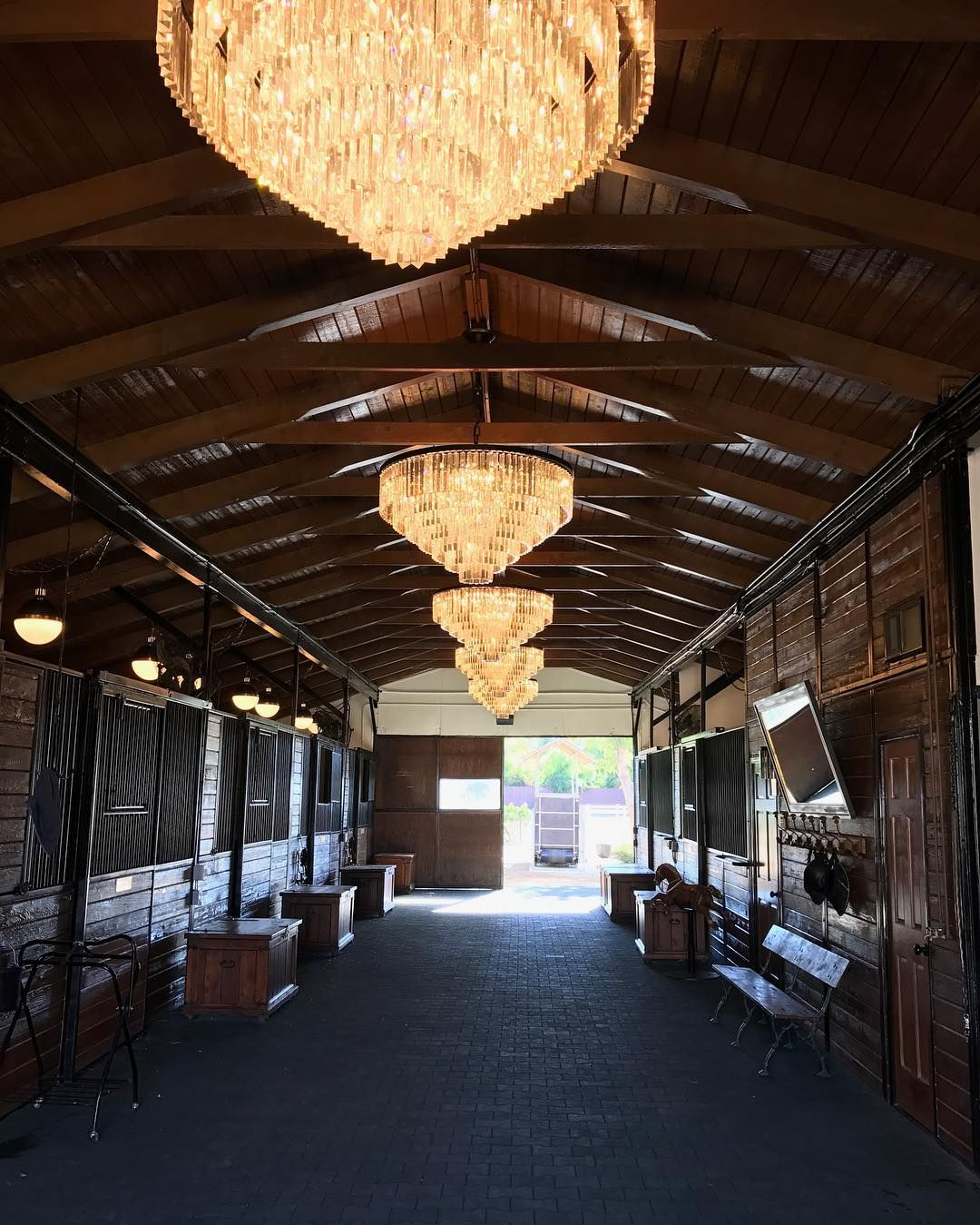 Stable interior with chandeliers horses pinterest barn dream horse riding stable interior with chandeliers aloadofball Image collections