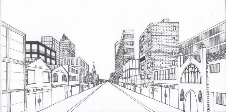 One Point Perspective Drawing Tutorial Street Fresh 28