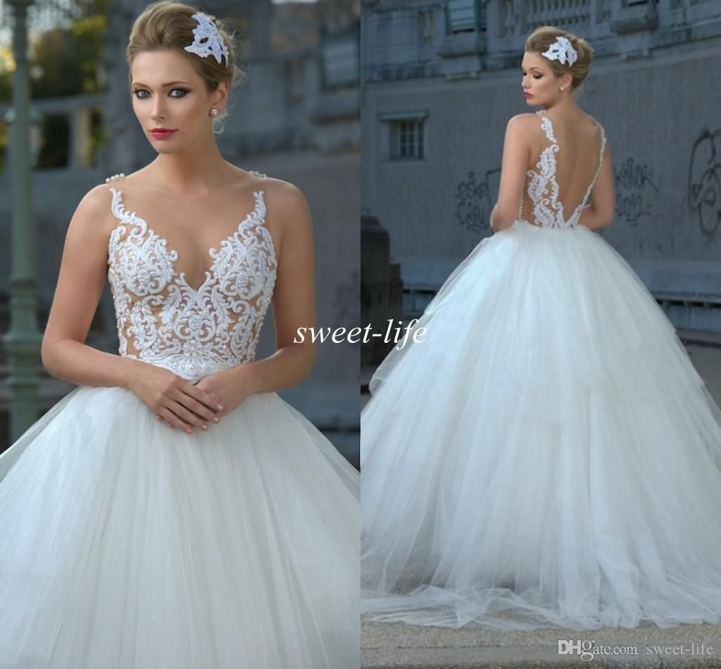 Sheer wedding dress   Sheer Wedding Dresses Backless Lace Fluffy Tulle Pearls