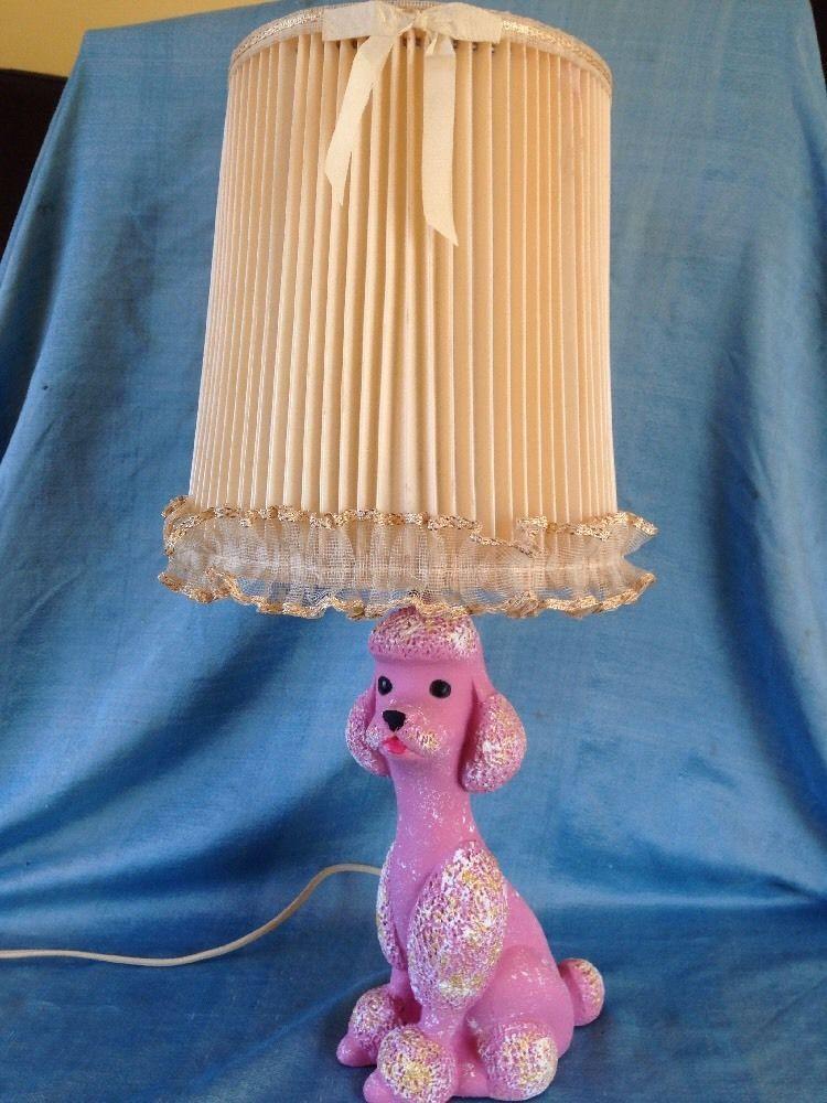 Vintage 1956 pink poodle lamp plaster chalkware w shade works wow vintage 1956 pink poodle lamp plaster chalkware w shade works wow aloadofball Gallery