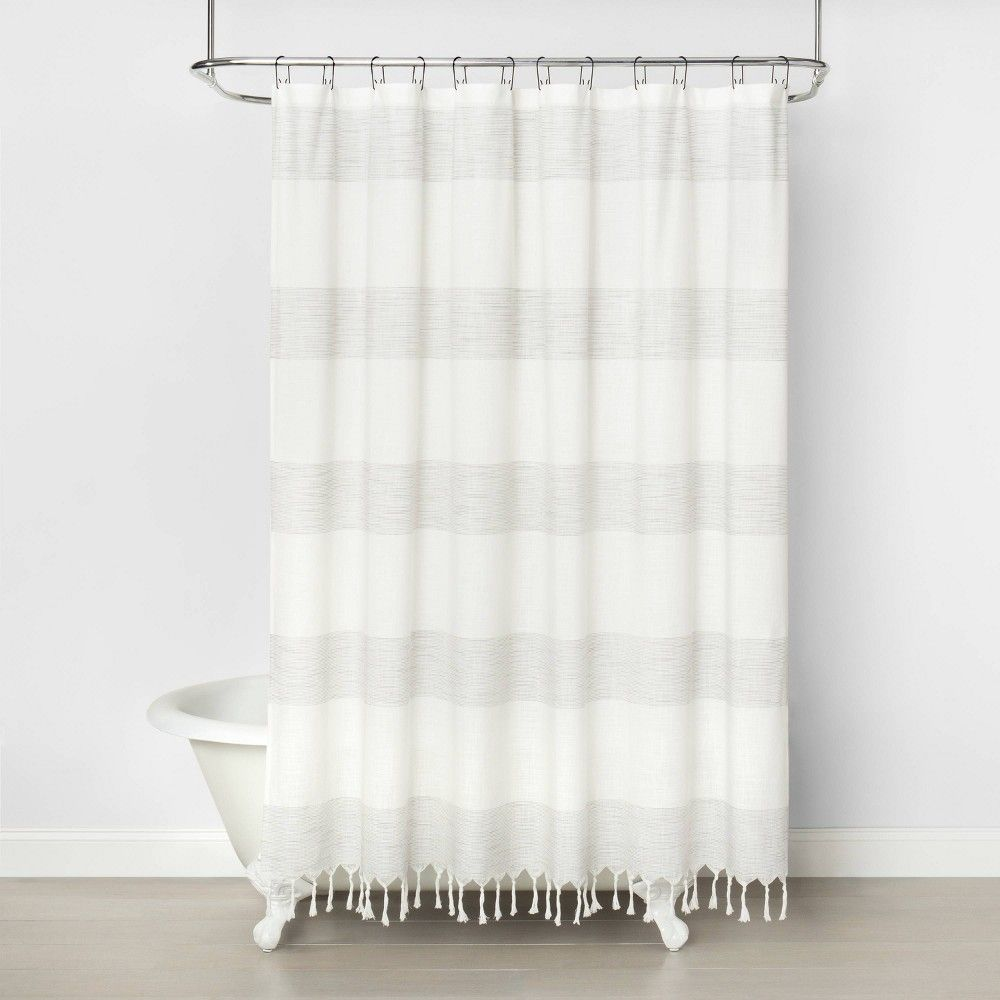 Woven Stripe Shower Curtain Railroad Gray Hearth Hand With