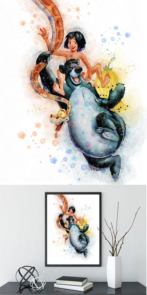 Baloo Bear Print Baloo poster jungle book wall art Watercolor painting kids room decor Disney Printable jungle book print