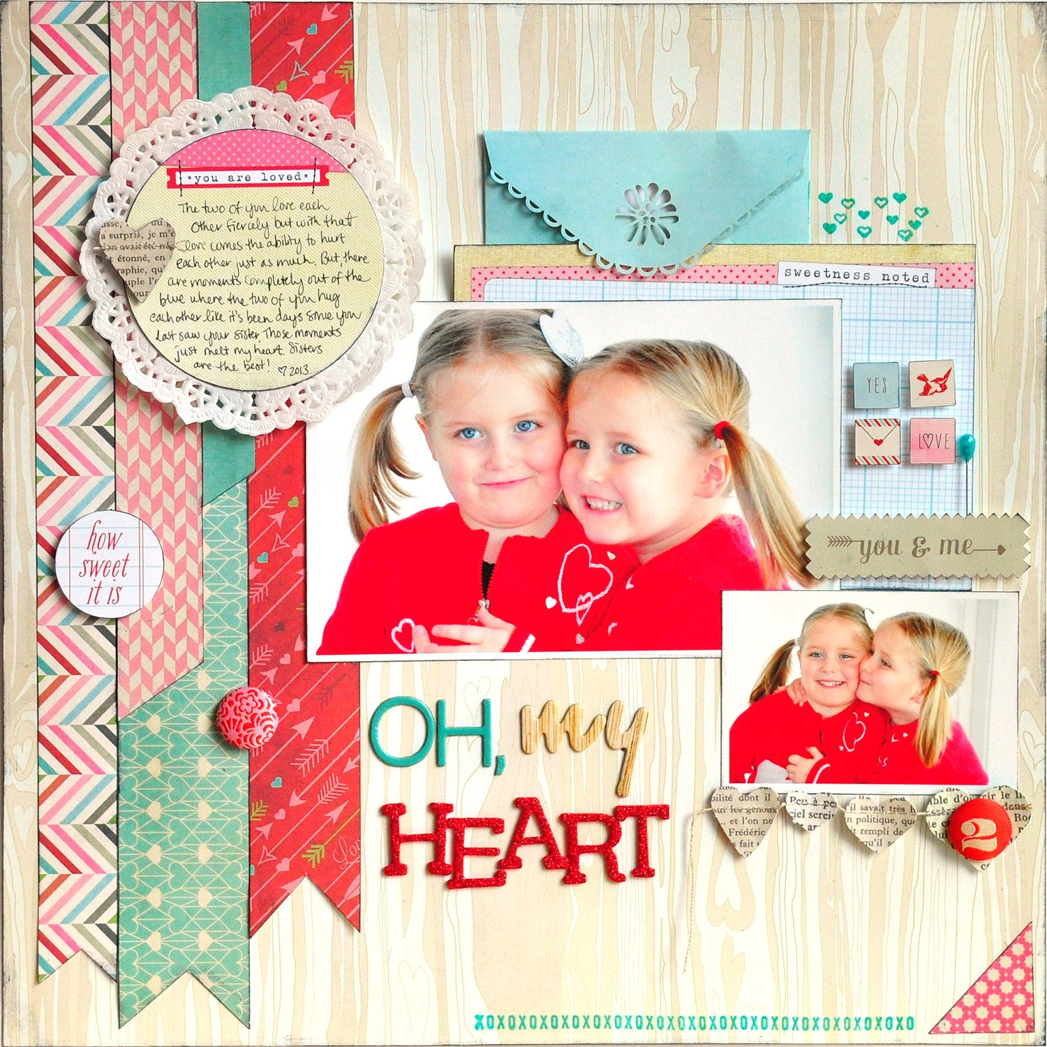 The Colours Used In This Cute And Pretty Layout Oh My Heart Basic Grey Scrapbook Com Kids Scrapbook Scrapbook Designs Photo Scrapbook