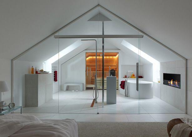 Sauna In Badkamer : Design bed badkamer met douche bad sauna en haard. deze