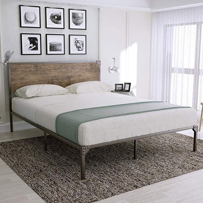 Amazon Com Urest Industrial Full Size Bed Frame With Headboard