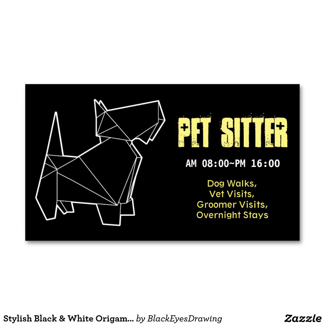 Stylish Black & White Origami Dog Pet Sitter Business Card | Dog