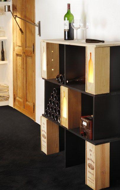 Transformer des caisses en étagères à vin | CAisse Vin | Pinterest ...