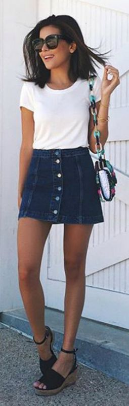 cute spring outfit - button up jean skirt, white tee and chloe bag ...