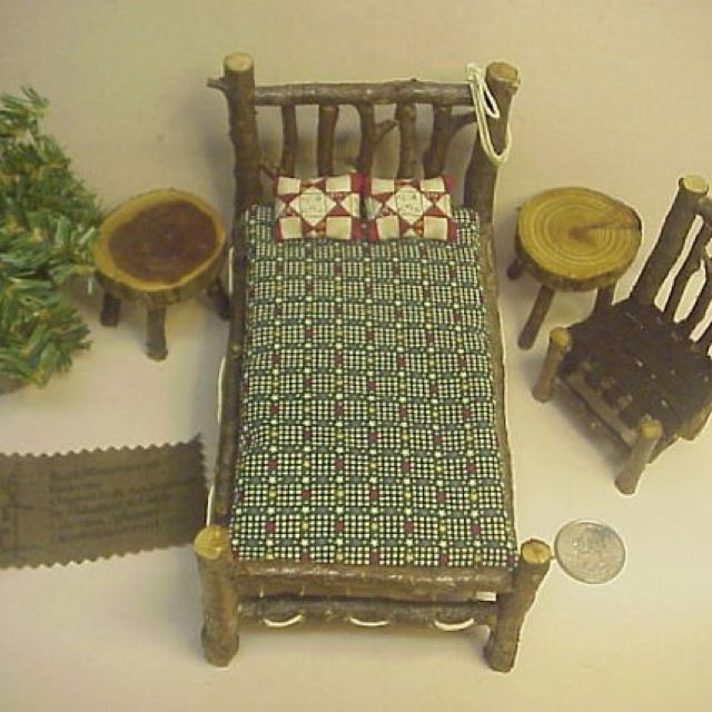 Rustic miniature bed, chair ,etc