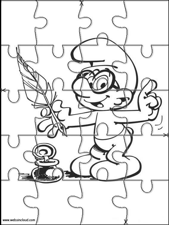 Printable jigsaw puzzles to cut out for kids Smurfs 3 Coloring