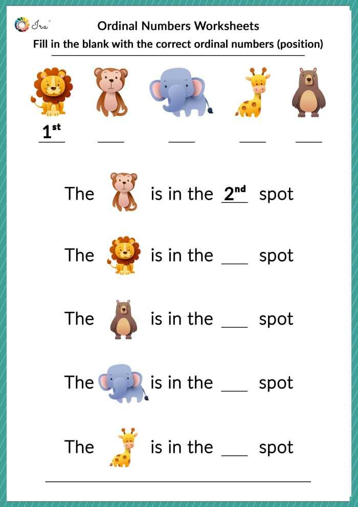 Free Ordinal Number Worksheets For Kindergarten