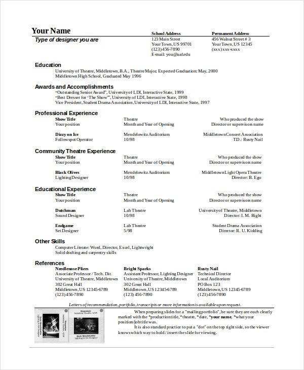 Theatre Resume Template Theatre Technician Resume Template  The General Format And Tips