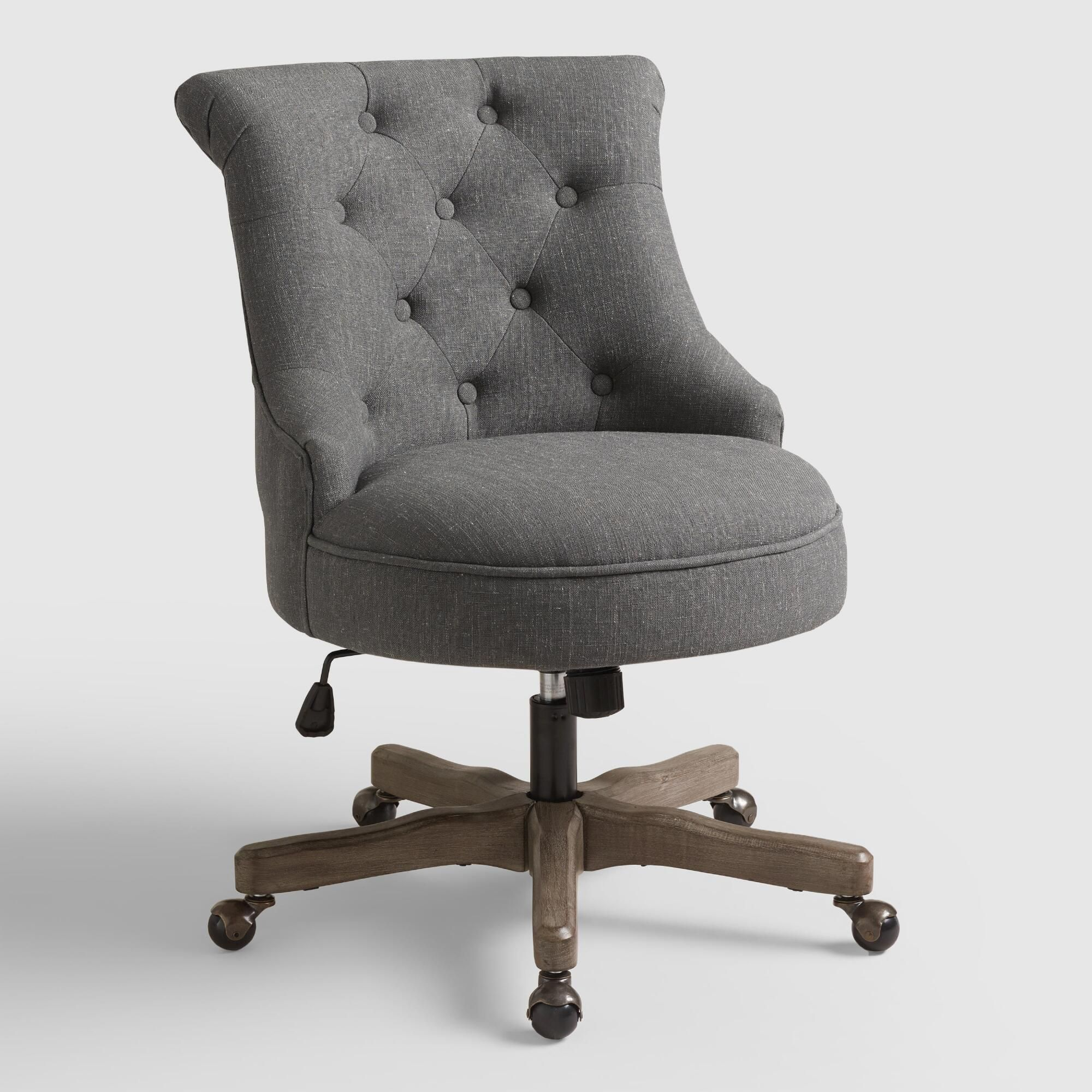 Charcoal gray elsie upholstered office chair fabric by