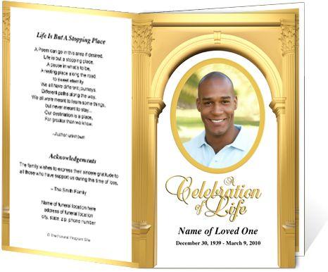 death program templates - obituary programs golden kingdom single fold template