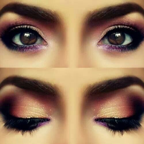 Accentuate your eyes with golds and blacks. <3