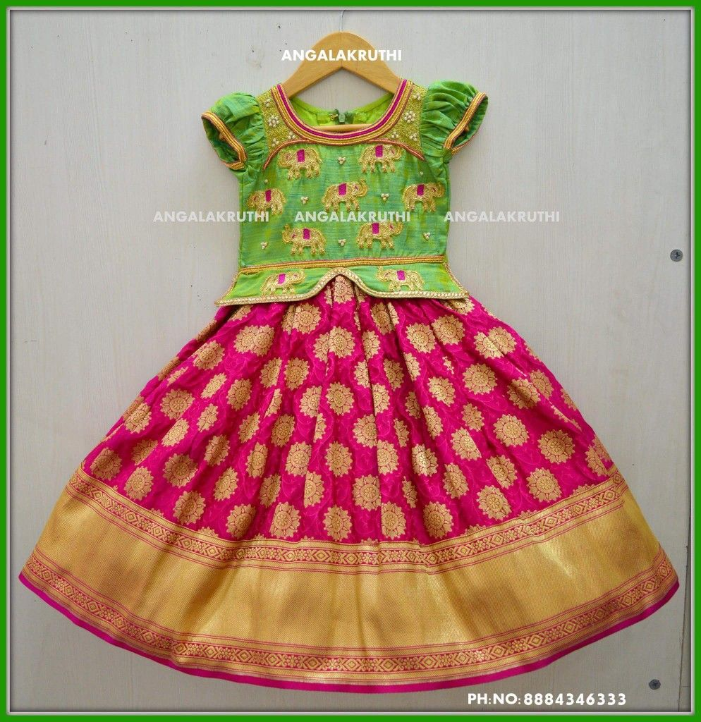 0b2cfeaa0d199 Tradational frock designs by Angalakruthi boutique Bangalore  Watsapp:8884346333 #Kids tradational style dress designs by Angalakruthi  Rich hand embroidery ...
