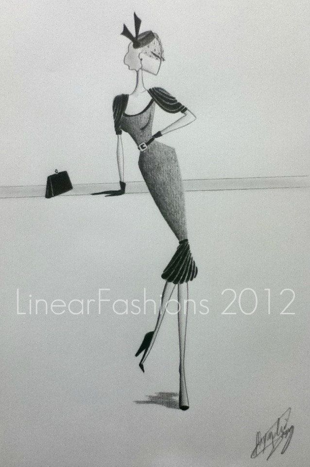 1950s Fashion Art Illustration Party Dress Decor. Etsy.