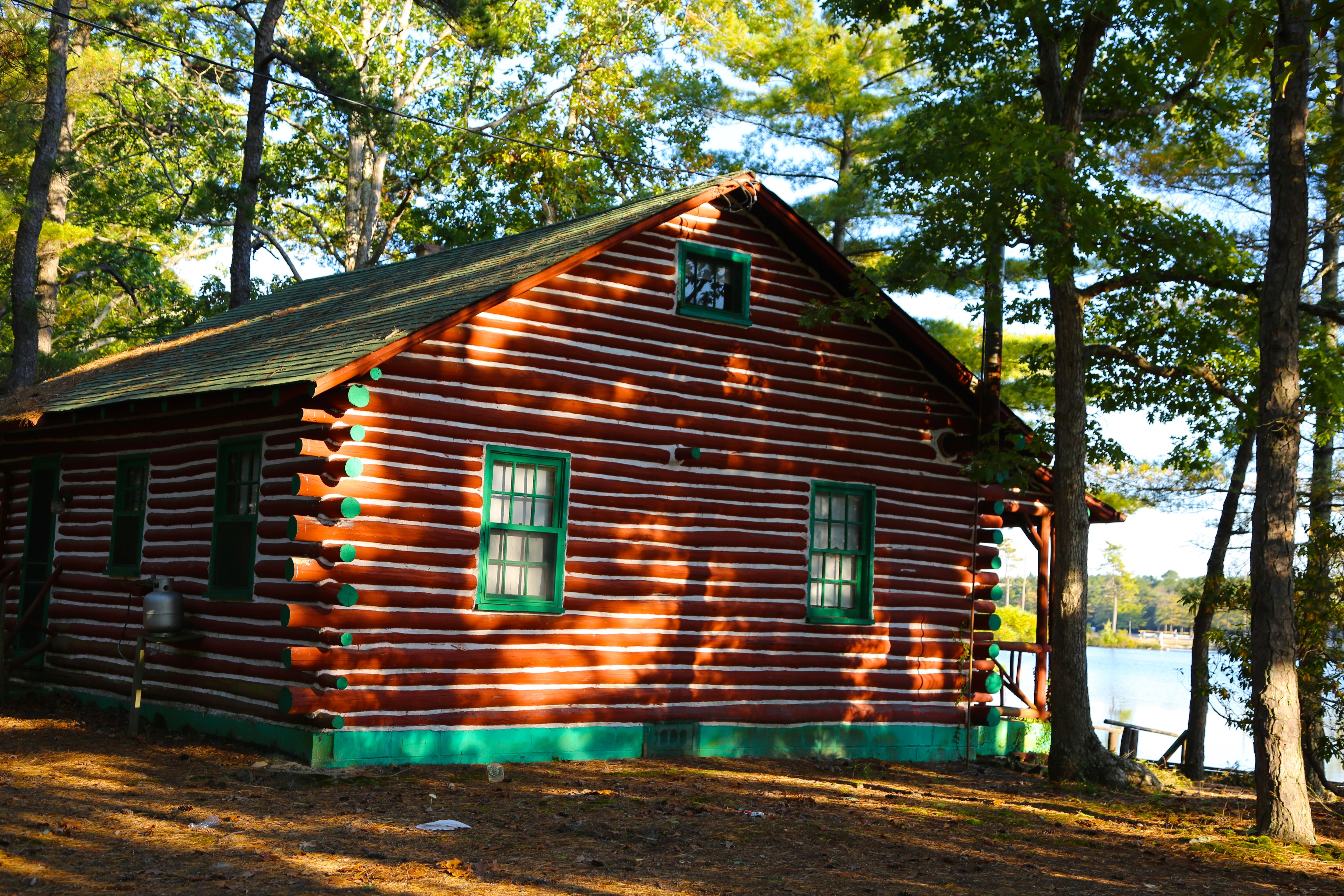 Very cool log cabin on a lake in wharton state forest for Wharton state forest cabins