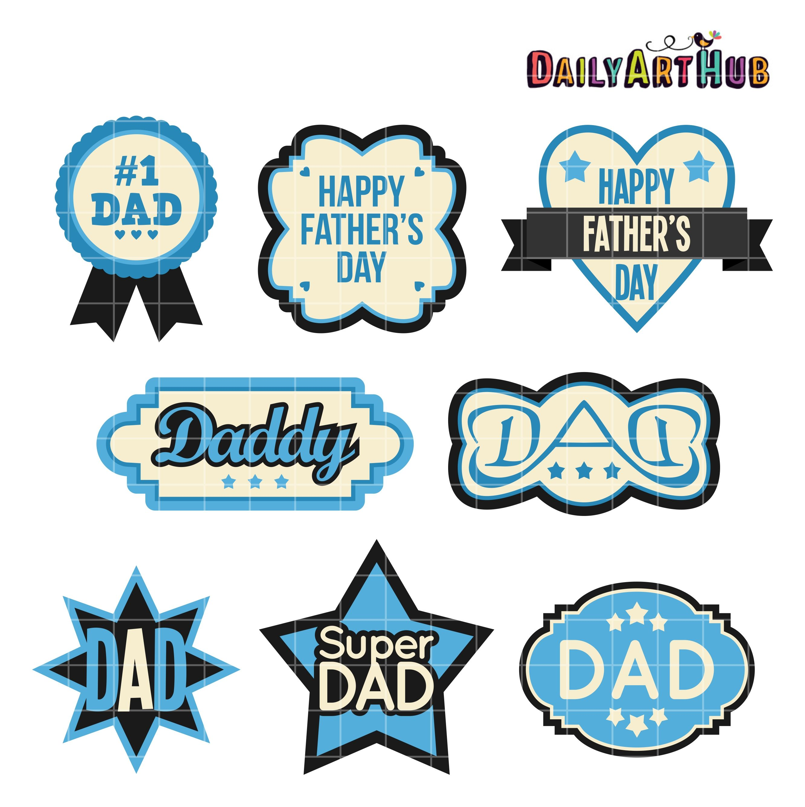 free father s day labels clip art set [ 2664 x 2670 Pixel ]