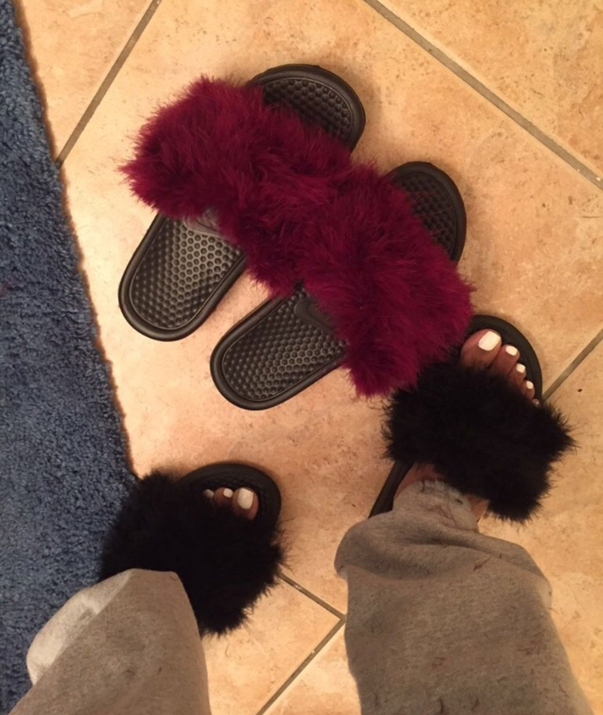 2a86a2303a4c Nike Burgundy faux fur slides fuzzy slippers furry sandals in 2019 ...