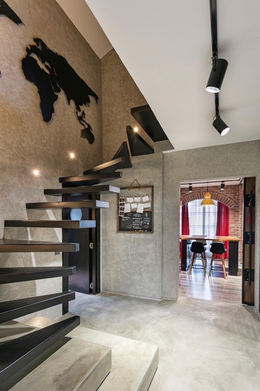Industrial Style Duplex Residence In Antalya Turkey Y Loft Staircase Design Loft Design Duplex House Plans