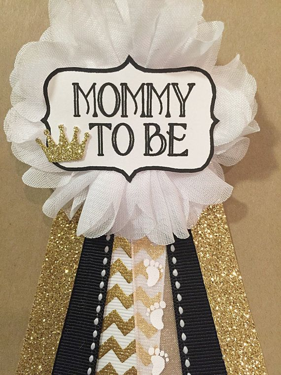 Baby Shower Gold Crown And Black Baby Shower Pin Mommy To