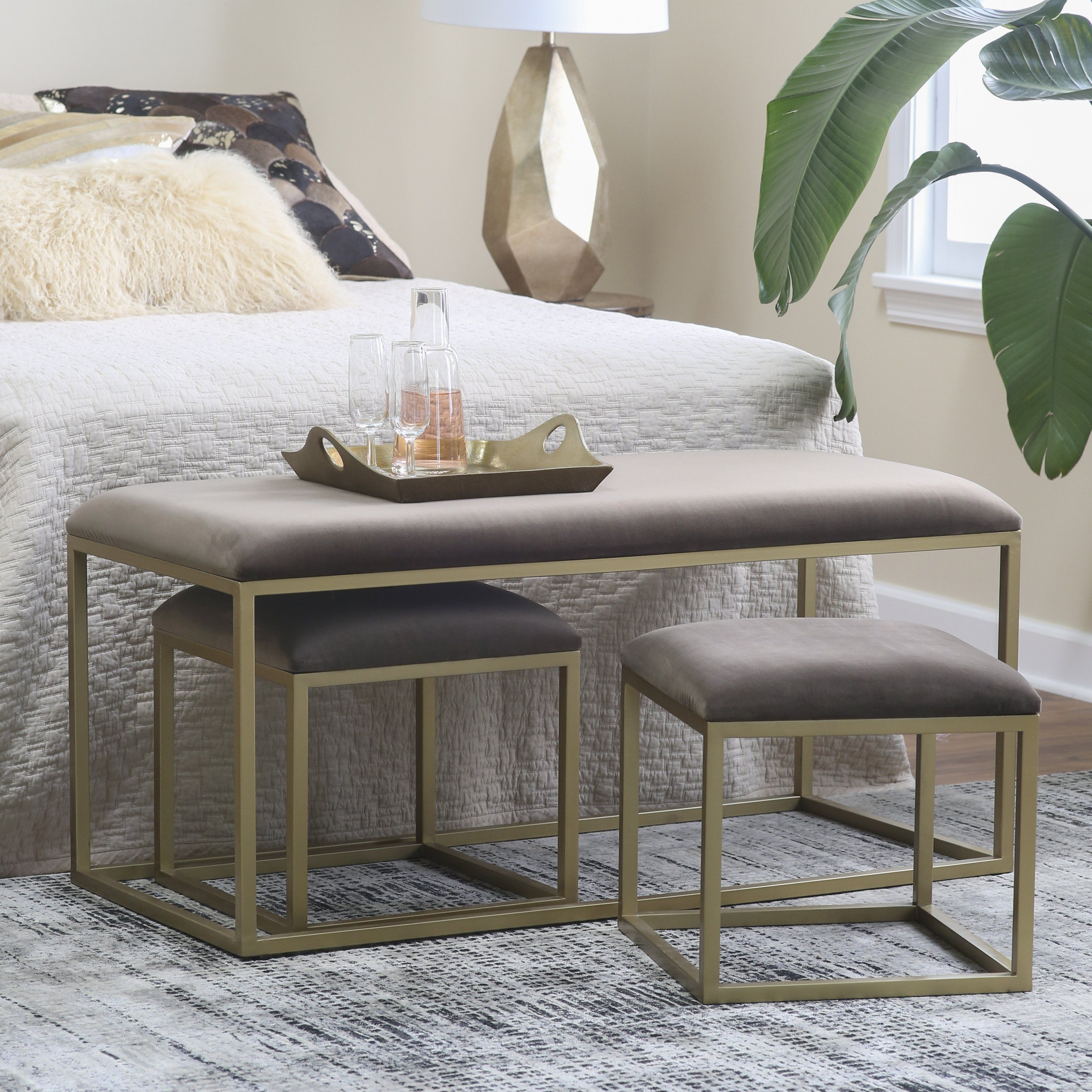 Belham Living Nova Nesting Bench And Ottomans In 2019 Products Upholstered Storage Bench End Of Bed Ottoman Upholstered Bench