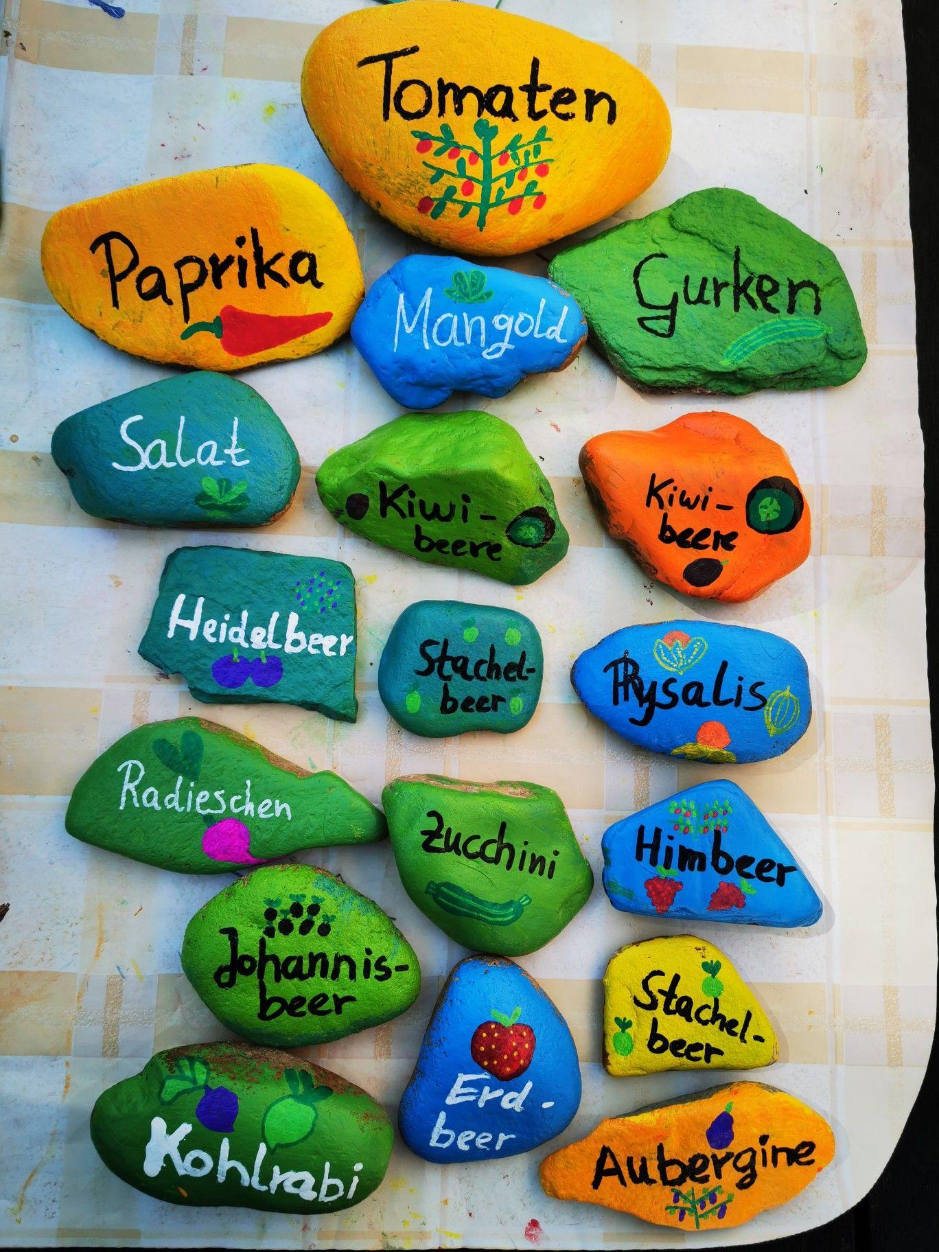 Pflanzen beschriften, Steine bemalen