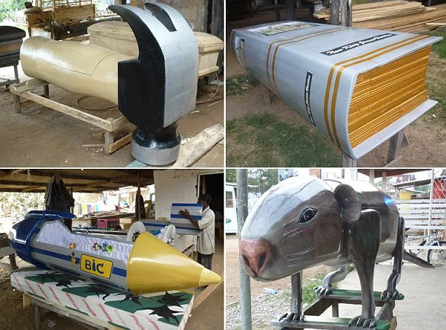 The Ga tribe of coastal Ghana shun the idea of a traditional funeral and have a full-blown celebration instead, complete with bespoke novelty coffins