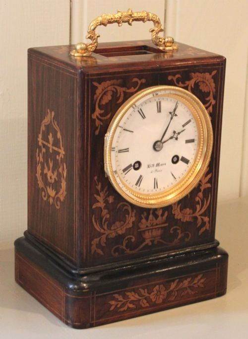 French Inlaid Wooden Carriage Clock Carriage Clocks Clock Antique Wall Clocks