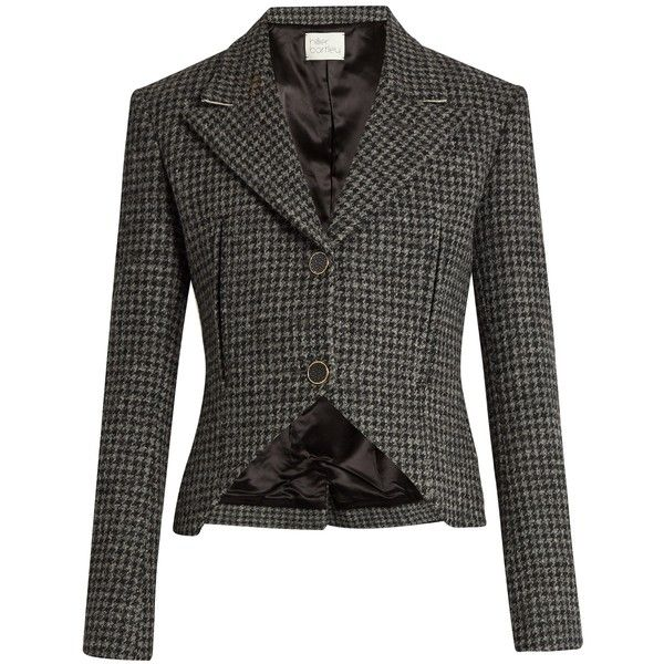 Hillier Bartley Hound's-tooth checked wool jacket ($1,030) ❤ liked on Polyvore featuring outerwear, jackets, wool jacket, checkered jacket, checked jacket and woolen jacket