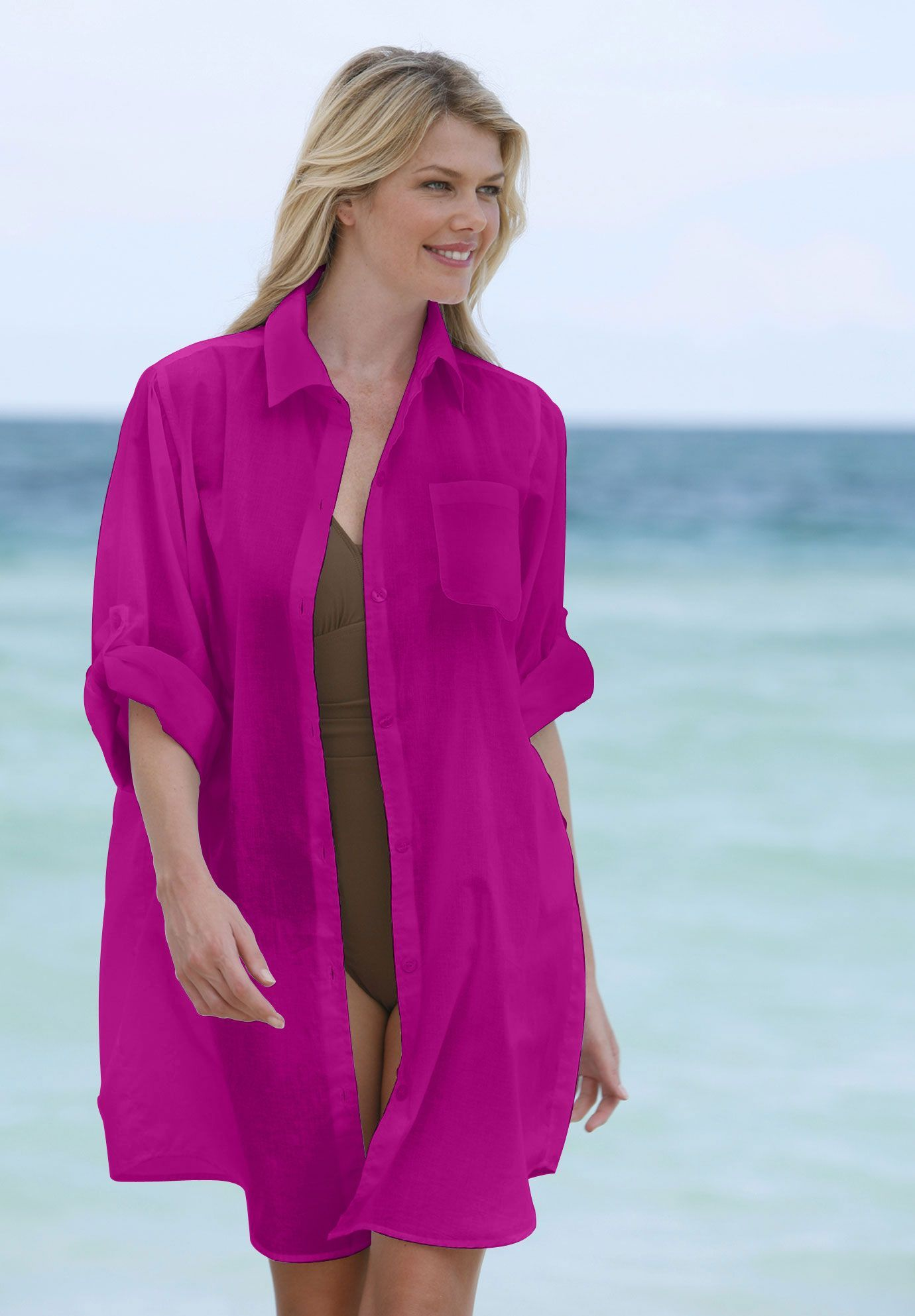 b904c9cff0109 Plus Size Gauze bigshirt cover-up by Resorts Plus® | Plus Size swimsuit  cover ups | Woman Within