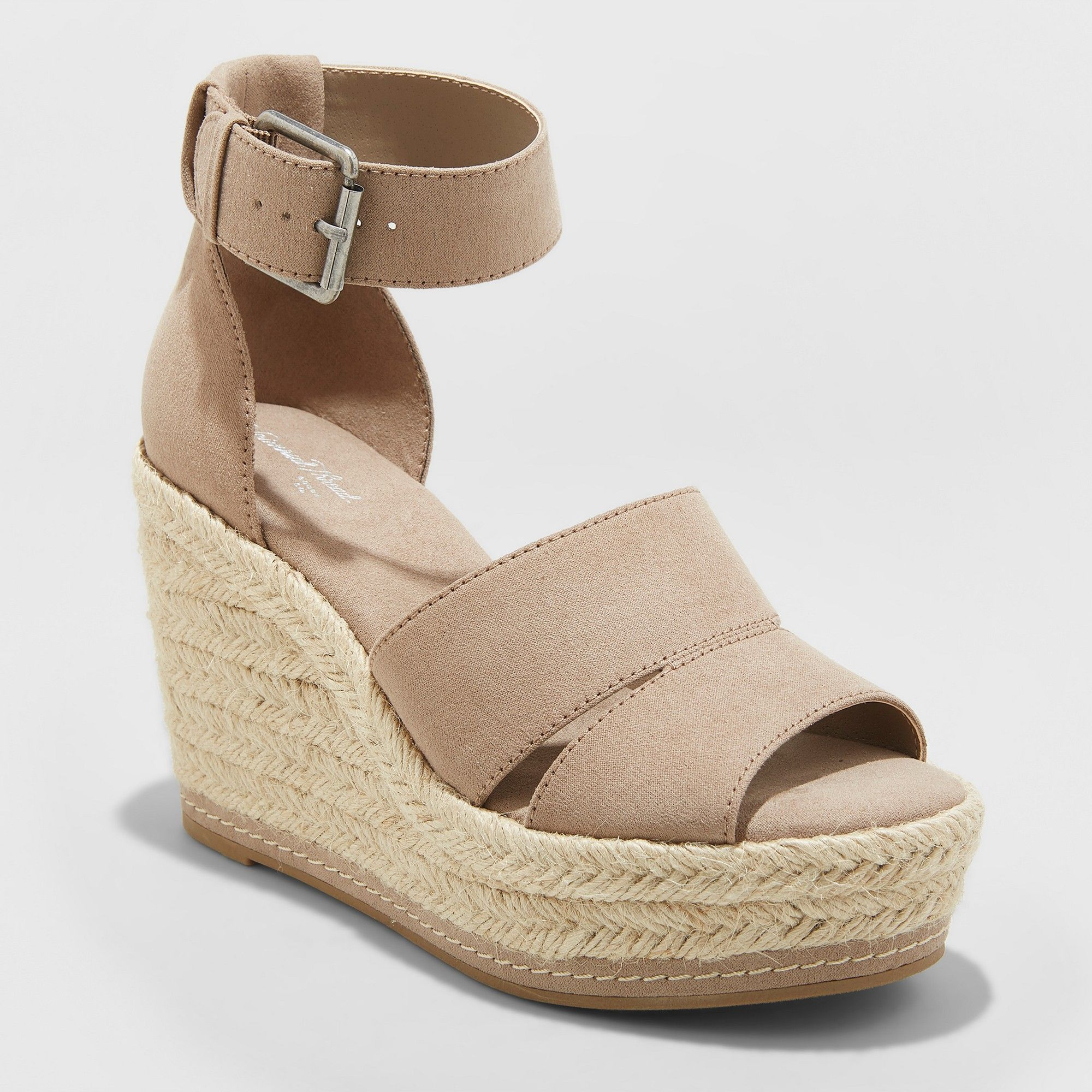 a7d1154bfa87 Women s Caroline Wide Width Microsuede Ankle Strap Espadrille Wedge -  Universal Thread Taupe (Brown) 12W