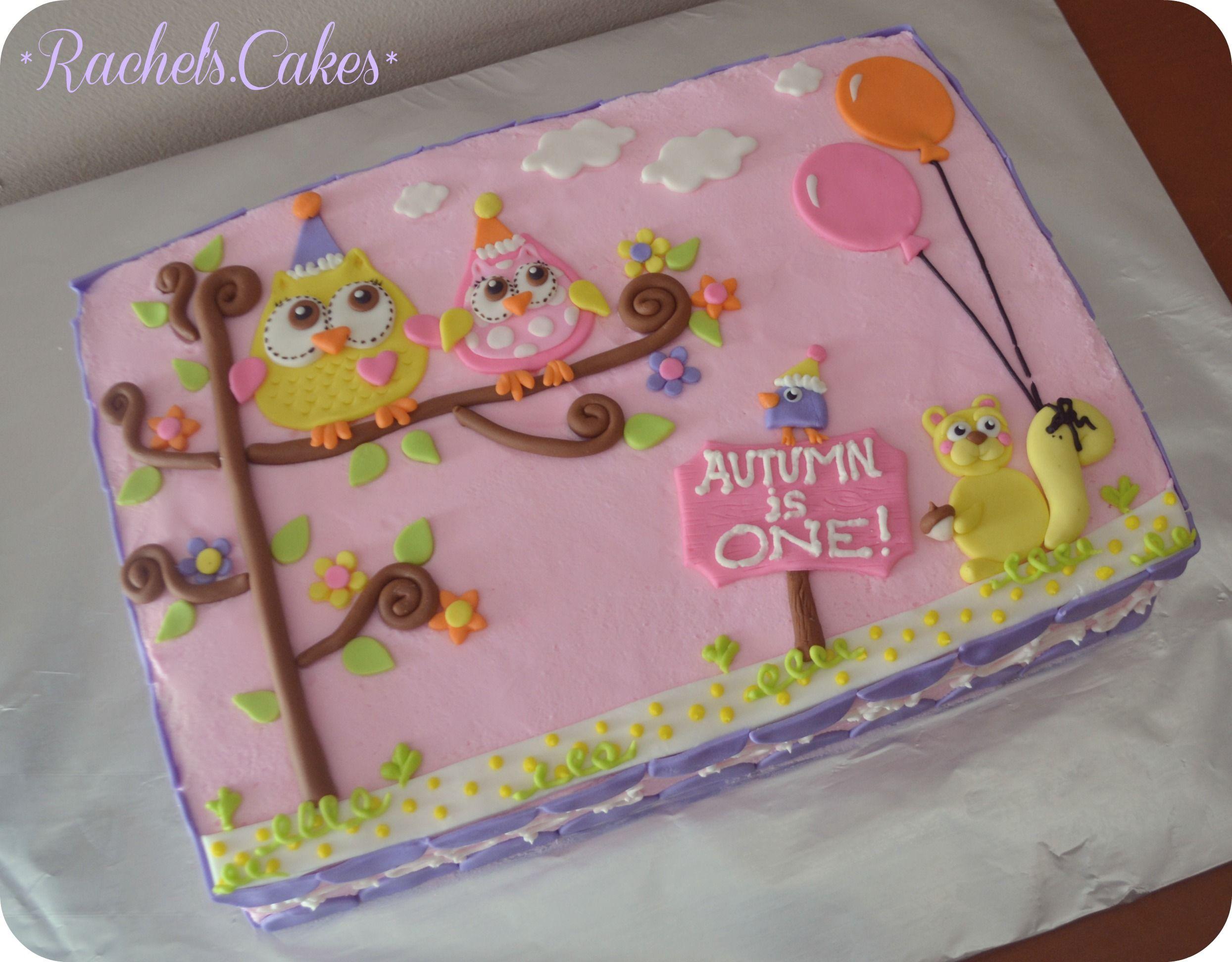 Owl Sheet Cake