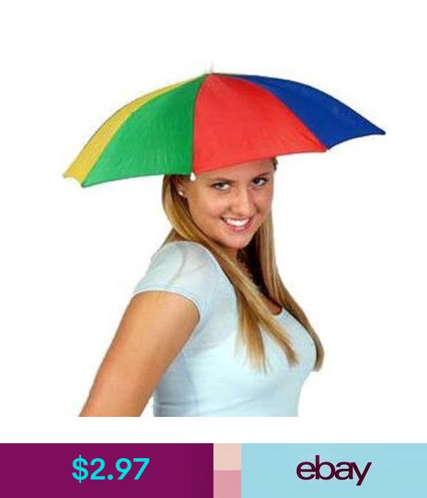 Portable Rainbow Fishing Camping Beach Umbrella Hat Multicolor Cap Umbrella Sun Ebay Fashion Shade Hats Umbrella Fishing Umbrella