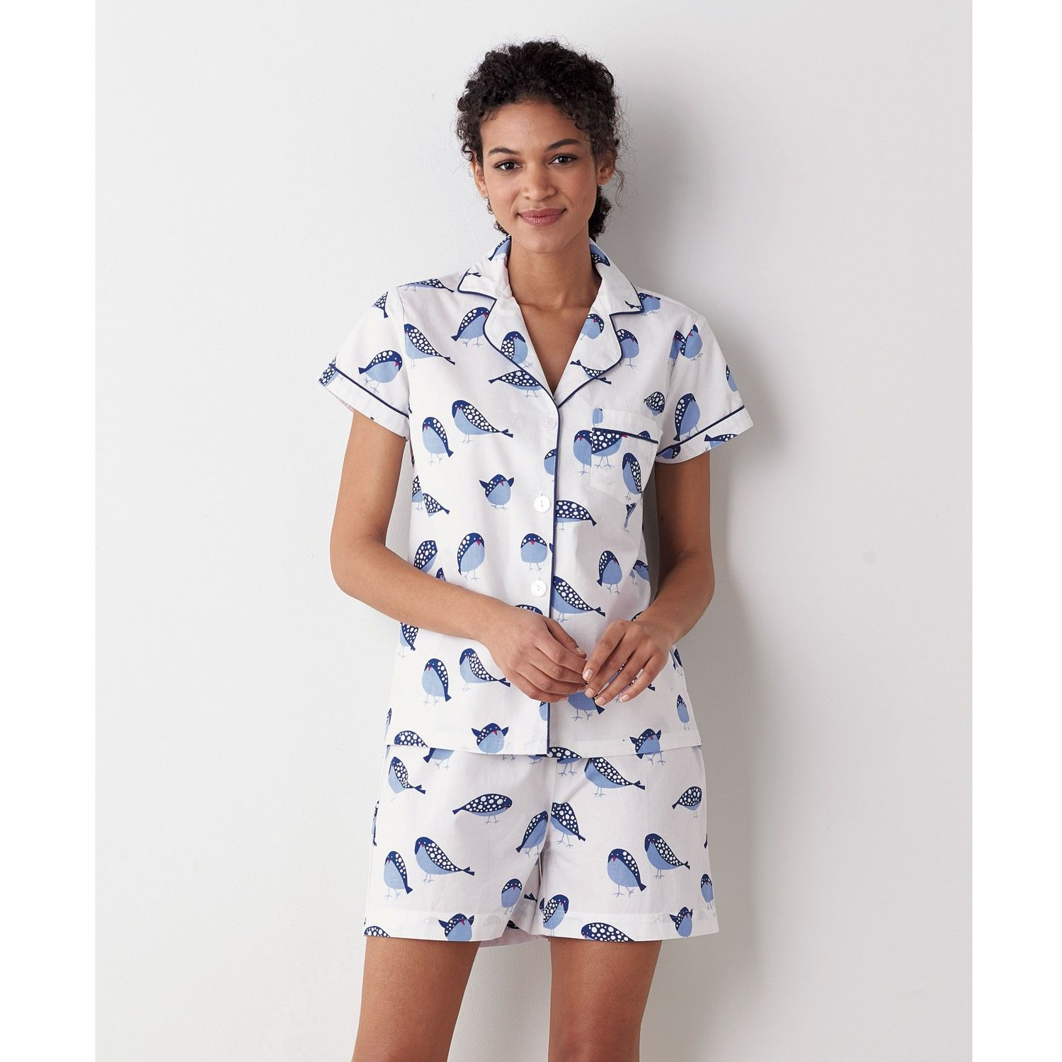 a8fc1caec8 Crisp cotton poplin pajama shorts set for women. 2-pc set includes  button-down shirt and pajama shorts in a sweet songbird motif.